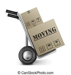 箱子, 移動, 紙板, 卡車, 手