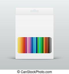 箱子, 鉛筆, 矢量, 上色