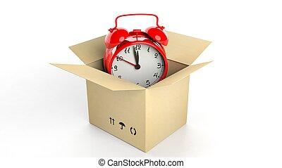 箱子, 鐘, 警報, 被隔离, 背景。, retro, 白色, 紙盒, 紅色