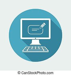 箱子, 電腦, 正文, -, 矢量, 消息, 圖象
