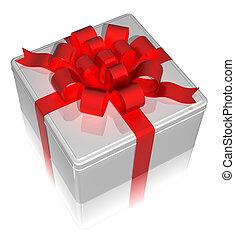 箱子, ribbon., render, 禮物, 錫, 紅色, 3d