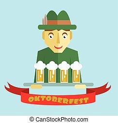 節日, oktoberfest, 啤酒, 矢量