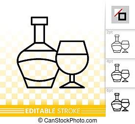 簡單, 玻璃, 矢量, 黑色, 瓶子, 線, 酒, 圖象