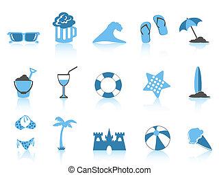 簡單, 藍色, 圖象, 海灘, 系列