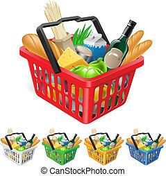 籃子, 購物, foods.