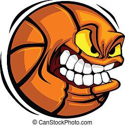 籃球, 矢量, 卡通, 球, 臉