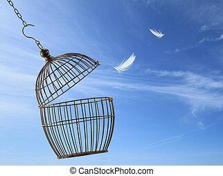 籠子, 自由, concept., 逃跑