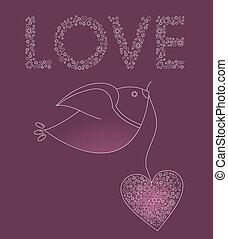 粉紅色, 心, 摘要, 鳥