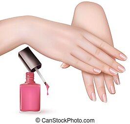 粉紅色, 擦亮, 女性, 年輕, 釘子, vector., 手, bottle.