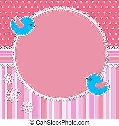 粉紅色, 框架, 花, 鳥
