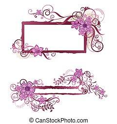 粉紅色, &, 框架, 設計, 植物群的旗幟