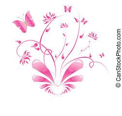 粉紅色, 植物, 蝴蝶, 設計