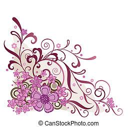 粉紅色, 植物, 角落, 設計元素