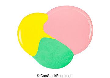 粉紅色, 污點, 被隔离, 釘子, 黃色, 綠色的背景, 擦亮, 白色