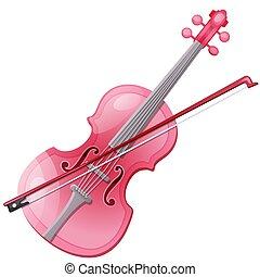 粉紅色, 特寫鏡頭, illustration., 被隔离, 弓, 背景。, 矢量, 小提琴, 白色, 卡通