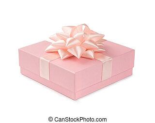 粉紅色, 禮物, 被隔离, 弓, 背景, 白色的帶子