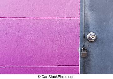 粉紅色, 門, 牆, 鎖, 金屬, 灰色, 鄉村