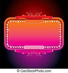 粉紅色, marquee., 圖像, 插圖, 矢量, retro