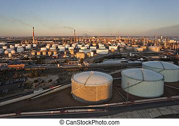 精煉厂, 在上方, 油, 空中的觀點