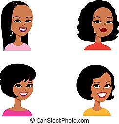 系列, avatar, 卡通, 婦女, african