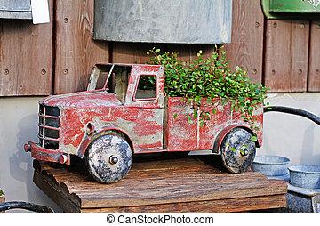 紅的卡車, 葡萄酒, 玩具, 商店, 花, 植物