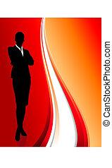 紅的背景, 摘要, 從事工商業的女性