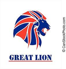 紅的頭, 獅子, 藍色, 偉大
