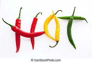 紅色, 干辣椒, 熱, 背景, 胡椒, 黃綠色, 做, 詞, 白色