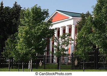 紅色, 後面, 房子, 樹