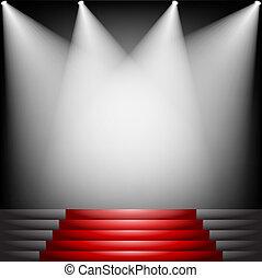 紅色, 樓梯, 地毯
