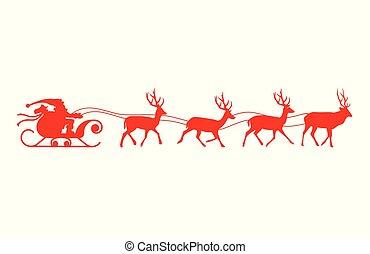 紅色, 聖誕老人, 馴鹿, silhouette., sleigh