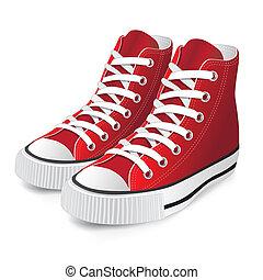 紅色, 鞋子, 運動