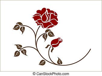 紅色, backgroud., 玫瑰, 白色