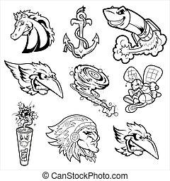 紋身, 各種各樣, 字符, 吉祥人