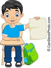 紙, 學生, 藏品, 卡通, 男孩, 空白
