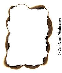 紙, 框架, 燒傷, 背景