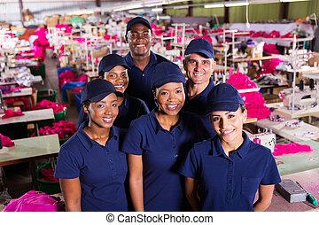紡紗品工人, 組, 工廠