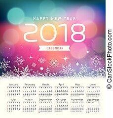 紫色, bokeh, 年, 新, 日曆, 2018, 雪花