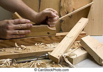 細木工技術, 車間, 工具, 木頭