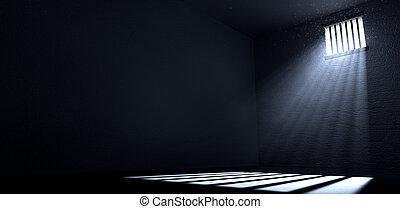 細胞, 窗口, 陽光, 發光, 監獄