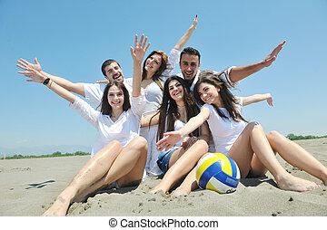 組, 人們, 年輕, 獲得 樂趣, 海灘, 愉快