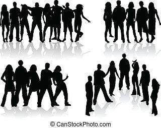 組, 人們, -, 插圖, 大, 黑色半面畫像, 矢量
