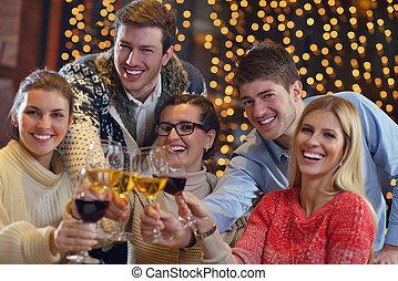 組, 人們, 飲料, 年輕, 黨, 愉快, 酒