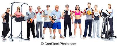 組, 健康, 健身, 人們。