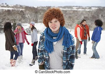 組, 多雪, 年輕, 樂趣, 朋友, 有, 風景