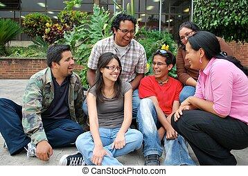 組, 學生, 一起, hispanic, 有吸引力, 樂趣, 有