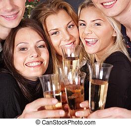 組, 年輕, nightclub., 人們