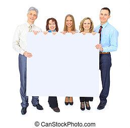 組, 廣告, 商業界人士, 被隔离, 藏品, 白色, 旗幟