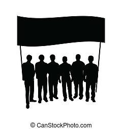 組, 旗, 黑色半面畫像, 人們