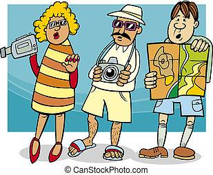 組, 遊人, 插圖, 卡通